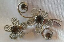 Bud Brooch Sweater Pin Fashion Jewelry Smokey Grey Rhinestone Silver Tone Flower