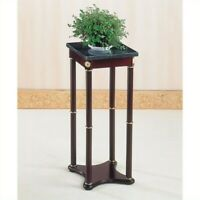 Coaster Square Marble Top Accent Plant Stand in Merlot and Green