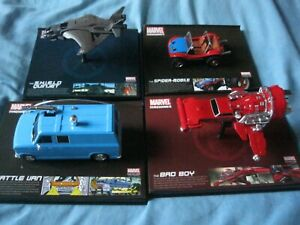 SET OF 4 MARVEL MACHINES ALL  NEW IN PERSPEX CASING ALL NEW