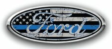 Ford Overlay Distressed Thin Blue Line Logo Overlay Decals 3PC Kit!