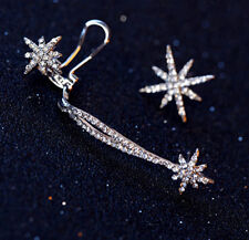 Gothic Antique Silver Snowflake Rhinestone Clip Ear Cuff Wrap Stud Earrings HOA#