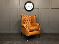 Chesterfield Queen Anne Wing Back Chair Crystal Bruciato,  30 LEATHERS AVAILABLE