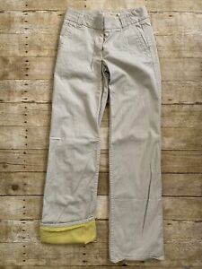 Womens J Crew 2 Tall Broken In Twill Favorite Fit Yellow Flannel Lined Pants EUC
