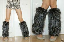 NEW! Faux Fur Black with Silver Leg Muffs Furry Warmers OSFM SAME DAY SHIP