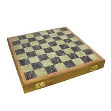 "12"" Soapstone Chess Set Hand Carved Pieces Storage Compartment Wooden Framed"