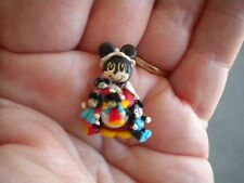 "1"" Handmade OOAK Clay Art Miniature Minnie Mouse With Dolls Unique Rare Disney"