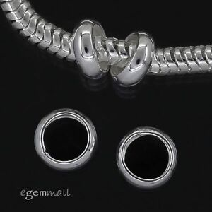 4 Sterling Silver Ring Rondelle Spacer Beads 7mm Fit European Bracelet #97876