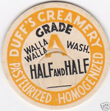 MILK BOTTLE CAP. DUFF'S CREAMERY. WALLA WALLA, WA. DAIRY