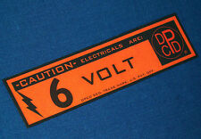 6 VOLT DPCD LOGO BATTERY WARNING DECAL, VINTAGE DODGE PLYMOUTH TRUCK STICKER TAG
