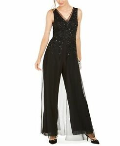 Adrianna Papell Womens Jumpsuit Black US Size 10P Petite Sequined Mesh $279- 530