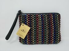 NWT Patricia Nash Cassini Beaded Leather Wristlet Purse Bag Blue Forest Bead $89
