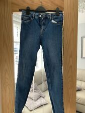 Ladies Skinny Jeans Size 10 With Yellow Side Stripe