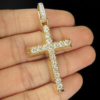 Round Cut 1.00ct Diamond Cross Vintage Pendant Necklace 14k Yellow Gold Finish