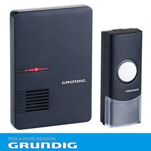 Grundig Funk Klingel Türklingel Türgong Batterie Schwarz LED Kabellos Melodie