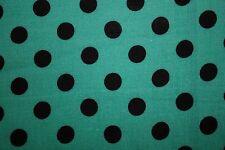 Teal Black Polka-Dot Print #12 100 Rayon Challis Sewing Shirt Apparel Fabric BTY