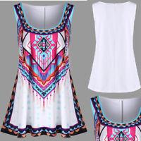 Fashion Womens Plus Size Colourful Summer Bohemian Print Casual Tank O-Neck Vest