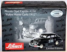 Opel Kapitän #236 RALLYE MONTE CARLO 1952 NEGRO 1:90 Schuco Piccolo 01572