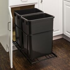 Black Double-Trash Can Pull-Out System with 2- 35 Qt. Black Cans