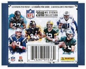 2018 Panini NFL Football Sticker Collection Unopened 20 Pack Lot 100 Stickers