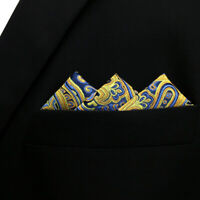 SHLAX/&WING Solid Color Mens Pocket Square Silk Paisley Light Green Honeydew