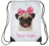 Personalised Cute Pug Gym Bag , PE, Sports,  Swimming Bag, School, Dance,Girls