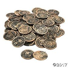 144 Rusty Pirate Skull Plastic Coins Kids Boys Birthday Party Favors Toys Gifts