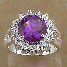 10K White Gold Filled Fire Amethyst Round Ring Size 8.25