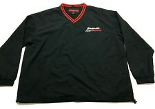 Snap On Racing Power Tools Mens Black L/S V-Neck Windbreaker Shirt Size XL
