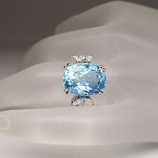 Ring 0,28ct Diamant und einem 8,40ct Aquamarin in 750/18K Weißgold Handarbeit