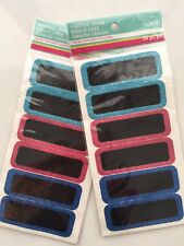 Lot x 2 Chalkboard Blackboard Sticker With Glitter 36 Pcs Ea.  Mason Jar Label