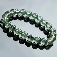 Natural Green Rutilated Quartz Crystal Stretch Beads Bracelet 8.5mm AAA