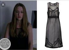 TOPSHOP RARE Black Chiffon Lace Sheer Midi Slip Dress US8/UK12 ASO Zoe Benson