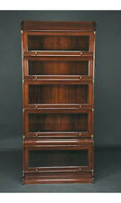 Dark Brown Mahogany Stackable Barrister Bookcase 5 Sections - Real Wood