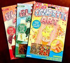 3 Packs Confetti Glitter Art Craft Sets Mermaid Unicorn Kids Children's Activity