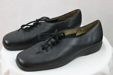 Women's Ros Hommerson Black Leather Slip on Lace up Flat Casual Oxford Shoes 7M