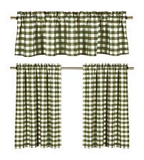 Sage Green Gingham Checkered Plaid Kitchen Tier Curtain Valance Set Duck River