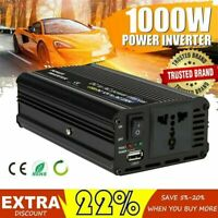 1000W Peak Car Power Inverter DC 12V To AC 110V 120V Car Adapter Cable USB Black