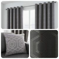 Curtina CAMBERWELL Graphite Grey - Geometric Jacquard Eyelet Curtains & Cushions