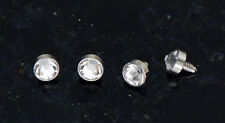 4 Pc 316L Surgical Steel 14g Tiny 3mm Clear CZ Dermal Anchors Heads Top
