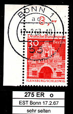 37)  Berlin 275 EST Bonn Gummi Ecke 1 Eckrand 1 oben links OL gestempelt RARITÄT