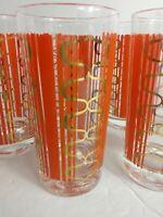 Mid Century Barware 12 Oz. High Ball Orange and Gold Geometric Patten  Set/6
