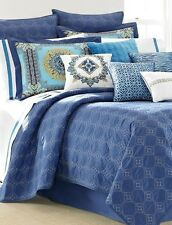 LAUNDRY BY SHELLI SEGAL 3PC, BLUE RIVIERA, 1 TWIN COVERLET, 1 STANDARD, 1 EURO