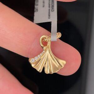 David Yurman 18K Ginkgo Pave Diamond Amulet New $950