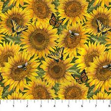 Heartland Home-Sunflowers Stacked w/Bees & Butterflies-Northcott Studios-BTY