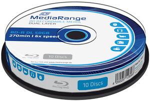10 Mediarange Rohlinge Blu-ray BD-R Dual Layer 50GB 6x Spindel