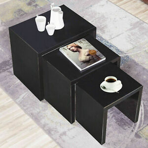 Black Nested Coffee Table Side Set of 3 Wooden Lamp Stack Home Furniture Unit UK