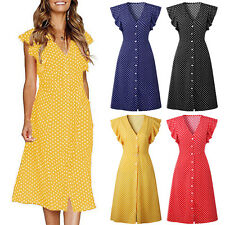 Women's Retro V Neck Midi Dress Polka Dot Button Casual Cocktail Swing Sundress