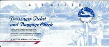 Airline Ticket - British Airways Air Miles 4 Flight Format c1997 - Narrow (T379)