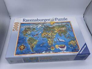 Ravensburger 5000 pc Puzzle Illustrated World Map #174065 1998 New Sealed