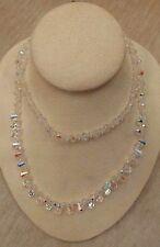 "Vintage Strand Aurora Borealis Crystal Bead Necklace slip over head 14-1/2"""